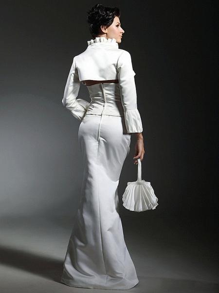 Mermaid \ Trumpet Wedding Dresses Strapless Sweetheart Neckline Floor Length Satin Long Sleeve_6