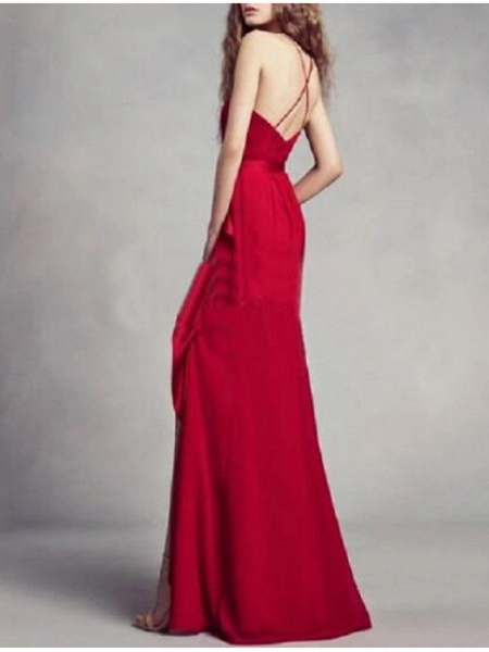 A-Line Wedding Dresses Jewel Neck Floor Length Satin Regular Straps Romantic Plus Size Black Red_2