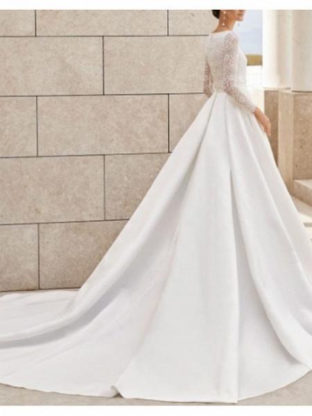 A-Line Wedding Dresses Jewel Neck Court Train Lace Satin Long Sleeve Simple Elegant_2