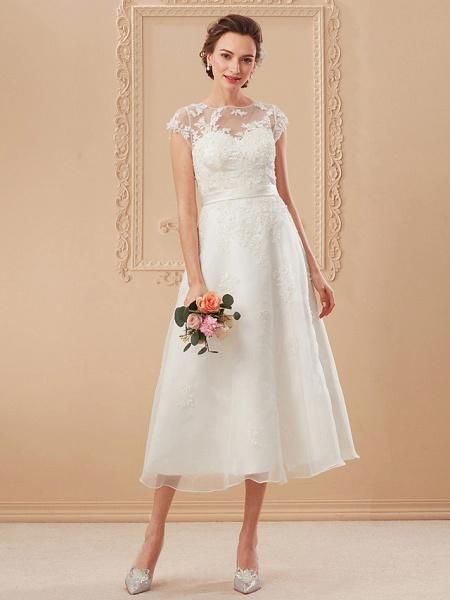 A-Line Wedding Dresses Bateau Neck Tea Length Organza Cap Sleeve Simple Casual Illusion Detail_13