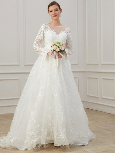 A-Line Jewel Neck Sweep \ Brush Train Lace Tulle Long Sleeve Beach Plus Size Illusion Sleeve Wedding Dresses_3