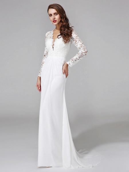 Sheath \ Column Wedding Dresses V Neck Sweep \ Brush Train Chiffon Floral Lace Long Sleeve Romantic Boho Illusion Sleeve_5