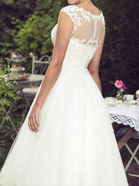 Ball Gown A-Line Wedding Dresses Jewel Neck Tea Length Lace Tulle Sleeveless Vintage Plus Size_3
