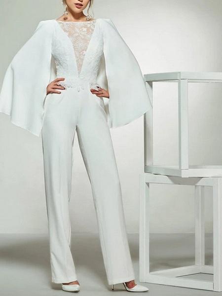 Jumpsuits Wedding Dresses Bateau Neck Floor Length Lace Satin Long Sleeve Romantic Plus Size Modern_1