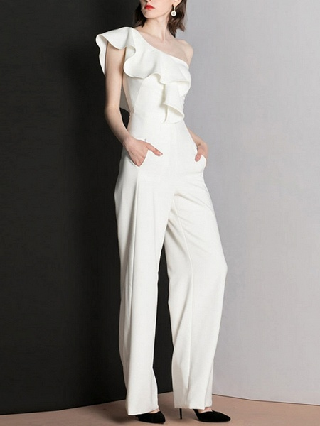 Jumpsuits Wedding Dresses One Shoulder Floor Length Polyester Cap Sleeve Romantic Modern_4