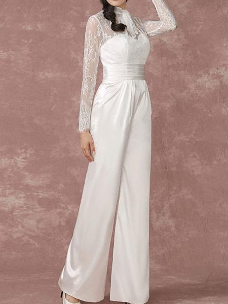 Jumpsuits Wedding Dresses Jewel Neck Floor Length Lace Long Sleeve Simple Modern_3