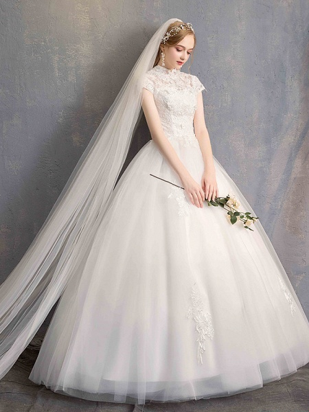 Ball Gown Wedding Dresses High Neck Floor Length Lace Tulle Lace Over Satin Short Sleeve Vintage Illusion Sleeve_6