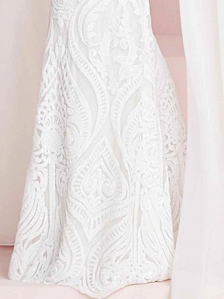 Mermaid \ Trumpet Halter Neck Floor Length Polyester Short Sleeve Country Plus Size Wedding Dresses_2