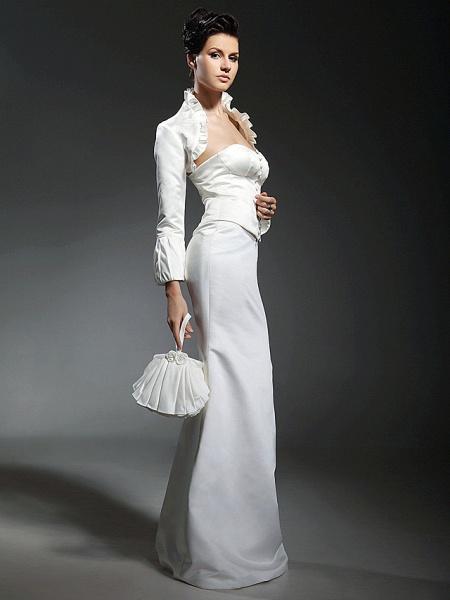 Mermaid \ Trumpet Wedding Dresses Strapless Sweetheart Neckline Floor Length Satin Long Sleeve_4
