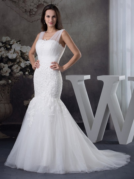 Mermaid \ Trumpet Scoop Neck Chapel Train Lace Tulle Regular Straps Wedding Dresses_2