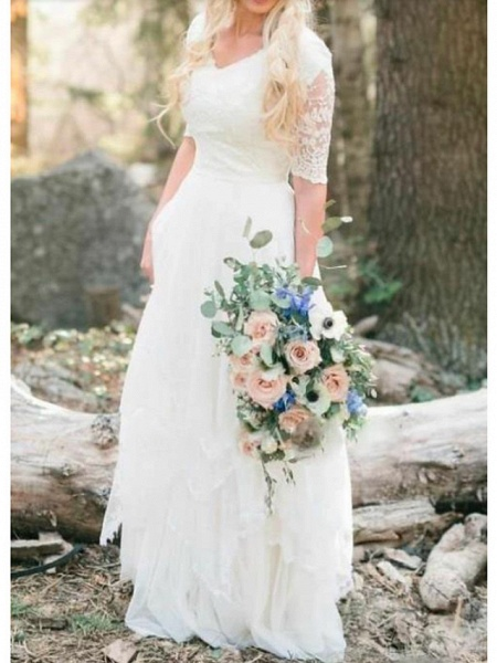 A-Line Wedding Dresses V Neck Floor Length Lace Tulle Half Sleeve Country Illusion Sleeve_1