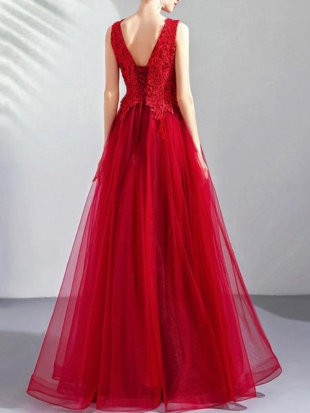 A-Line Wedding Dresses V Neck Floor Length Tulle Regular Straps Romantic Plus Size Red_4