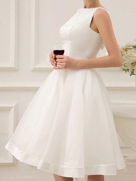 A-Line Wedding Dresses Jewel Neck Short \ Mini Satin Sleeveless Vintage Little White Dress 1950s_5