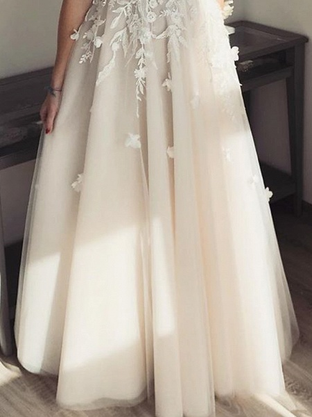 A-Line Wedding Dresses Plunging Neck Floor Length Lace Tulle Sleeveless Country Sexy See-Through Plus Size_3