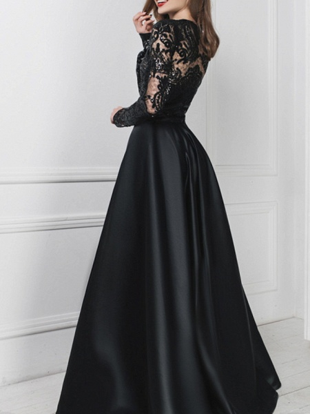 A-Line Wedding Dresses V Neck Floor Length Polyester Long Sleeve Formal Plus Size Black Modern_3