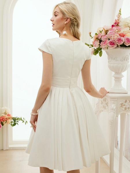 A-Line Wedding Dresses Jewel Neck Knee Length Satin Short Sleeve Formal Simple Casual Little White Dress_8