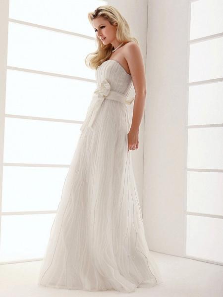 Sheath \ Column Wedding Dresses Strapless Floor Length Organza Sleeveless_7
