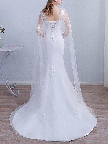 Mermaid \ Trumpet Wedding Dresses Jewel Neck Sweep \ Brush Train Lace Long Sleeve Beach Cape_3