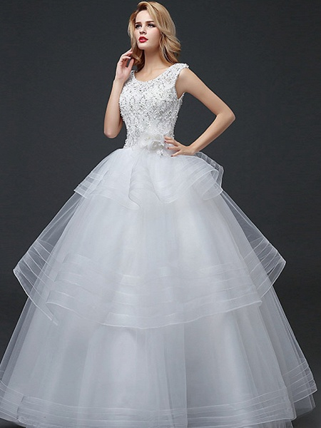 Ball Gown Wedding Dresses Scoop Neck Floor Length Lace Tulle Polyester Cap Sleeve Romantic_1