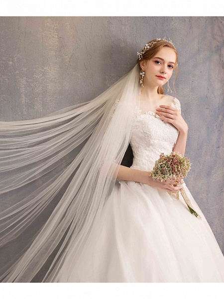 Ball Gown Wedding Dresses Jewel Neck Chapel Train Tulle Lace Over Satin Half Sleeve Illusion Sleeve_7