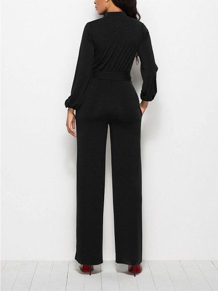 Women's Ordinary \ Business Wine Black Red Jumpsuit_8