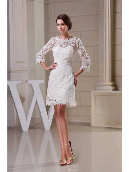 A-Line Wedding Dresses Jewel Neck Knee Length All Over Floral Lace 3\4 Length Sleeve Vintage Backless Illusion Sleeve_1