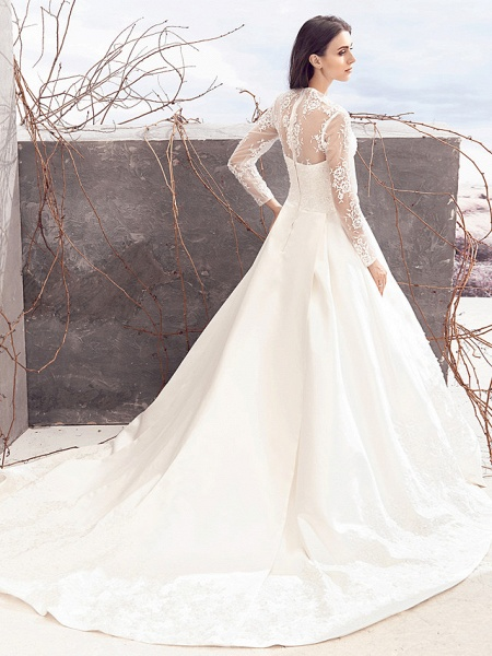 A-Line V Neck Chapel Train Lace Over Satin Long Sleeve Vintage Illusion Sleeve Wedding Dresses_5