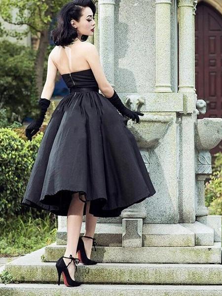 A-Line Wedding Dresses Strapless V Neck Tea Length Tulle Polyester Strapless Sexy Black_2
