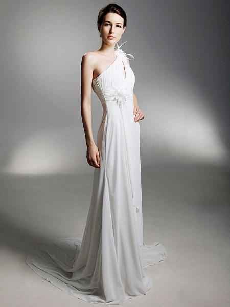 Sheath \ Column Wedding Dresses One Shoulder Watteau Train Chiffon Sleeveless_4