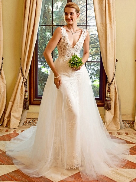 Sheath \ Column V Neck Chapel Train Lace Tulle Regular Straps See-Through Wedding Dresses_4