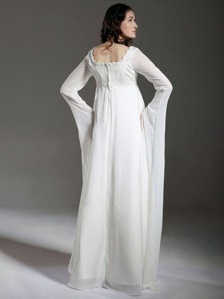 Sheath \ Column Wedding Dresses Square Neck Floor Length Chiffon Satin Long Sleeve See-Through_2