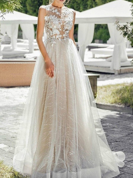A-Line Wedding Dresses Jewel Neck Sweep \ Brush Train Lace Tulle Polyester Short Sleeve Formal Plus Size_2