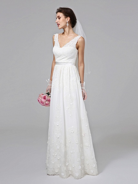 A-Line Wedding Dresses V Neck Floor Length Lace Regular Straps Simple Illusion Detail_4