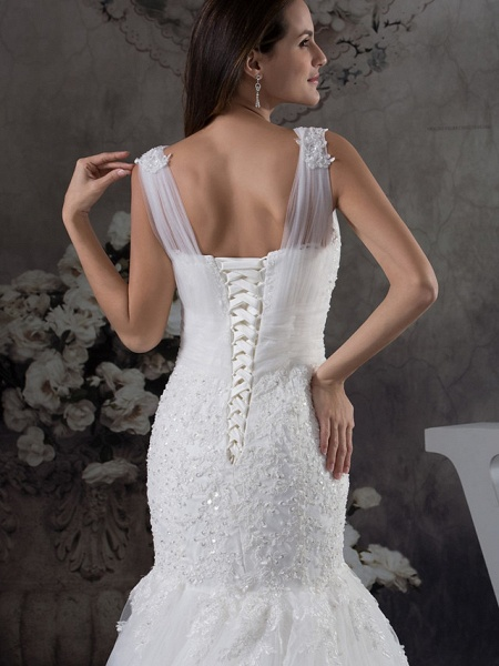 Mermaid \ Trumpet Scoop Neck Chapel Train Lace Tulle Regular Straps Wedding Dresses_5