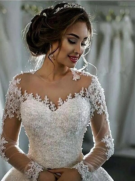 A-Line High Neck Court Train Lace Long Sleeve Country Glamorous Backless Illusion Sleeve Wedding Dresses_2