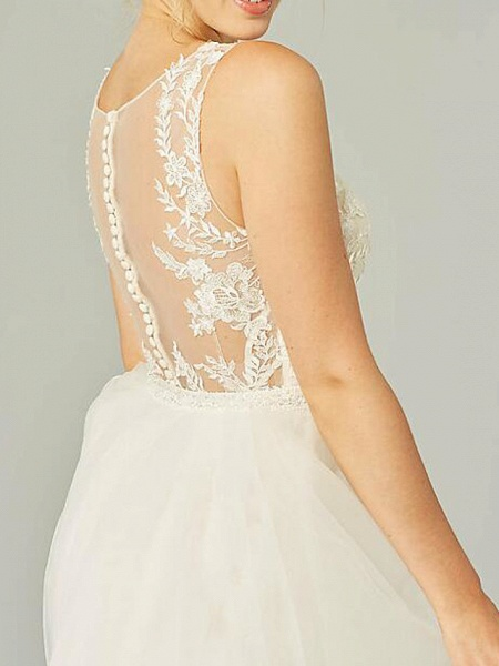 A-Line Wedding Dresses Jewel Neck Sweep \ Brush Train Lace Tulle Sleeveless Country See-Through Plus Size_3