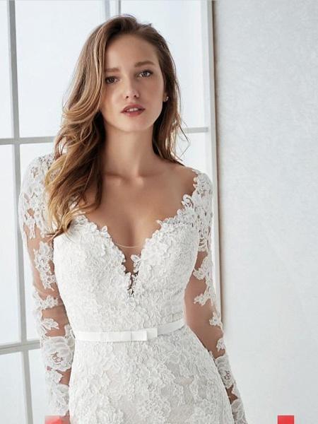 Mermaid \ Trumpet Wedding Dresses V Neck Sweep \ Brush Train Lace Tulle Long Sleeve Country Illusion Sleeve_2