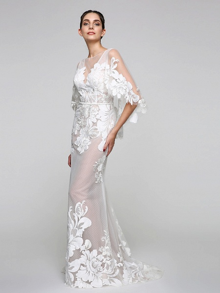 Mermaid \ Trumpet Wedding Dresses V Neck Sweep \ Brush Train Tulle Sheer Lace Lace Over Tulle Half Sleeve Sexy See-Through Illusion Detail Backless_3