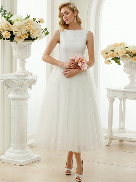 A-Line Wedding Dresses Bateau Neck Tea Length Tulle Sequined Regular Straps Simple Little White Dress_5