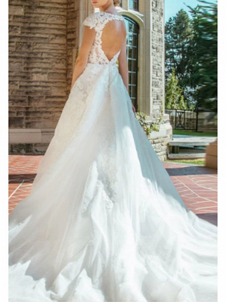 A-Line V Neck Court Train Lace Cap Sleeve Wedding Dresses_2