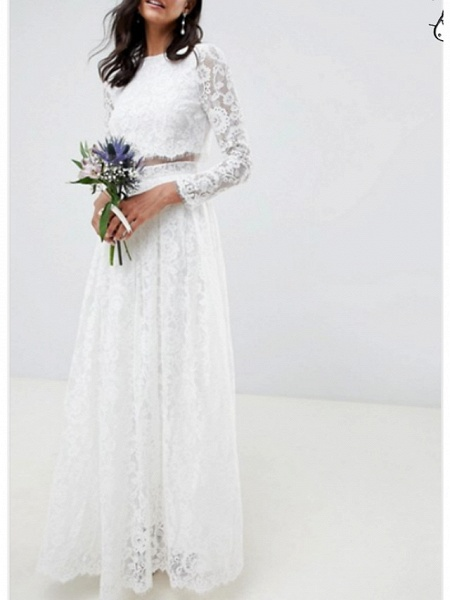 Two Piece A-Line Wedding Dresses Jewel Neck Floor Length Lace Polyester Long Sleeve Casual Boho Plus Size_1