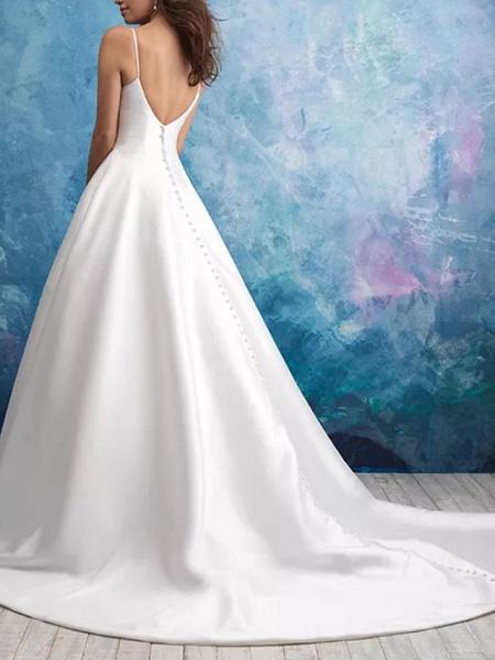 A-Line Wedding Dresses V Neck Sweep \ Brush Train Satin Sleeveless Vintage Plus Size_3