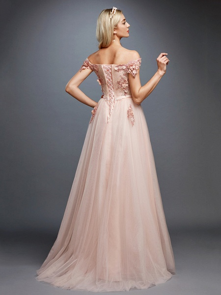 A-Line Floral Pink Prom Formal Evening Dress Off Shoulder Sleeveless Sweep \ Brush Train Tulle Over Lace_2