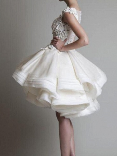 A-Line Wedding Dresses Jewel Neck Asymmetrical Polyester Sleeveless Country Little White Dress Plus Size_2