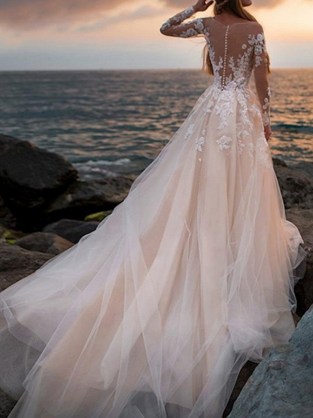 A-Line Wedding Dresses Bateau Neck Court Train Lace Tulle Long Sleeve Formal See-Through Illusion Sleeve_3