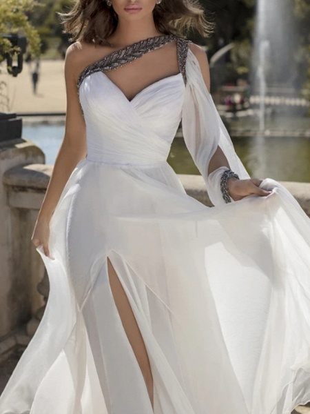 A-Line Wedding Dresses One Shoulder V Neck Sweep \ Brush Train Chiffon Sleeveless Vintage Sexy Wedding Dress in Color_3