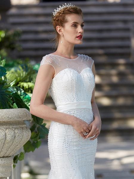 Mermaid \ Trumpet Wedding Dresses Illusion Neck Floor Length Tulle Sleeveless Sparkle & Shine_7