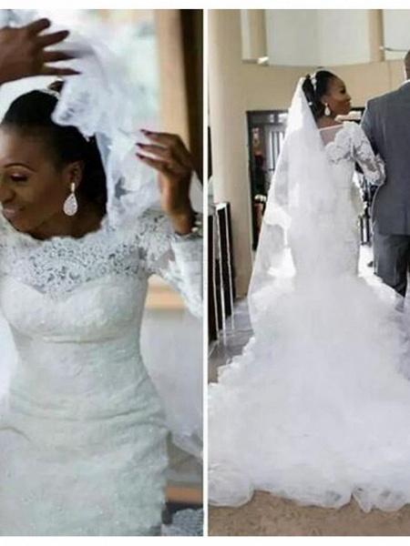 Mermaid \ Trumpet Wedding Dresses Bateau Neck Chapel Train Lace Tulle Long Sleeve Illusion Sleeve_2