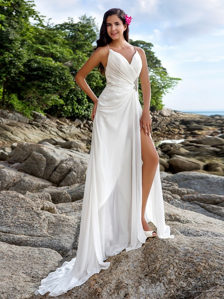 Sheath \ Column Wedding Dresses V Neck Sweep \ Brush Train Chiffon Spaghetti Strap Beach Sparkle & Shine Backless_2