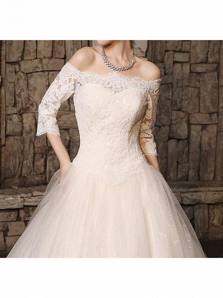 Ball Gown Off Shoulder Court Train Polyester 3\4 Length Sleeve Country Plus Size Wedding Dresses_5